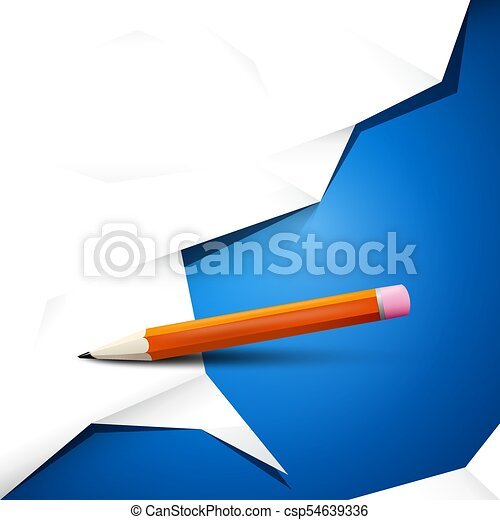 Empty White Crumpled Paper on Blue Background with Pencil. Vector Backdrop Design. - csp54639336