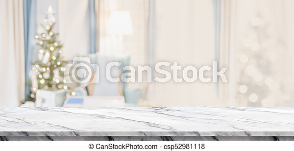 white marble table top. Empty White Marble Table Top With Abstract Warm Living Room Decor Christmas Tree Blur Background
