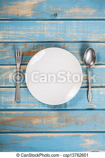 Empty white plate  - csp13762601