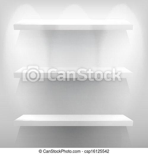 Empty white shelf for exhibit with light. + EPS10 - csp16125542