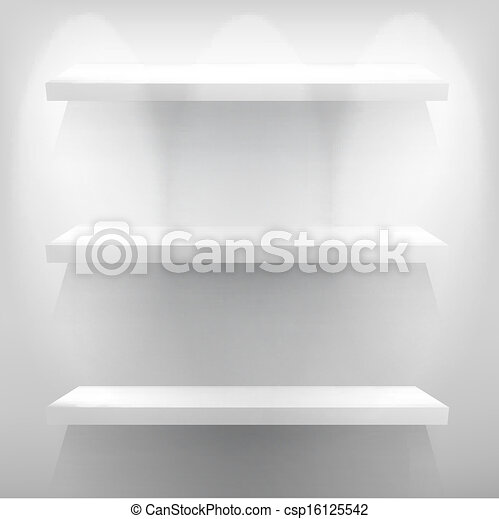 Empty white shelf for exhibit with light. + EPS10 - csp16125542