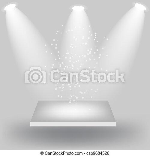 Empty white shelves on light grey background. Vector  illustration - csp9684526