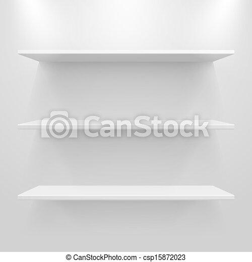 Empty white shelves on light grey background - csp15872023
