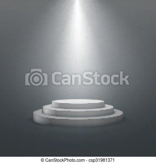 empty white stage podium.  - csp31981371