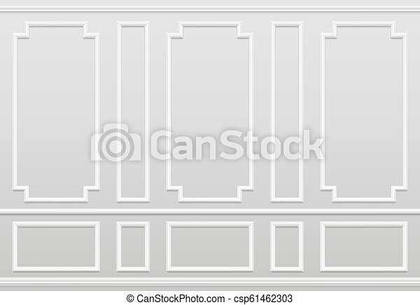 Empty white wall. Moulding panels classic home decoration. Living room vector interior - csp61462303