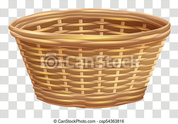 Empty wicker basket for flowers. Nest on transparent background - csp54363816