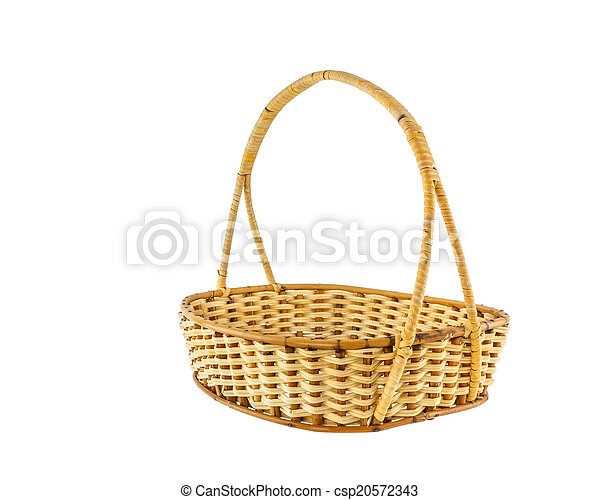 Empty wicker basket isolated on white background - csp20572343