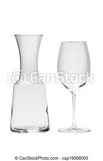 Empty Wine Glass And Carafe - Photo - csp19068093