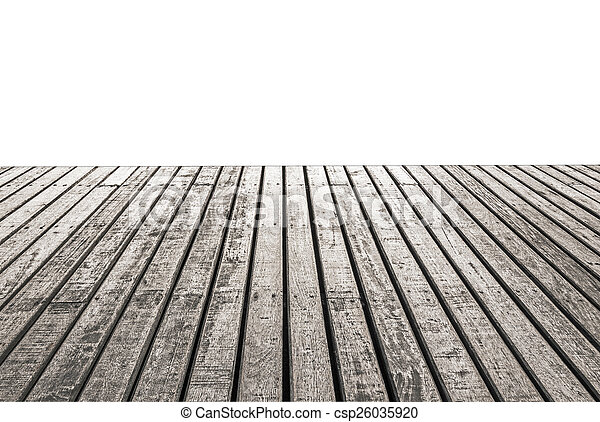 Empty wooden floor isolated on white background - csp26035920