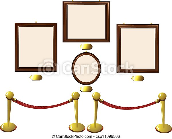Empty wooden frames in a museum. A vector cartoon representing some ...