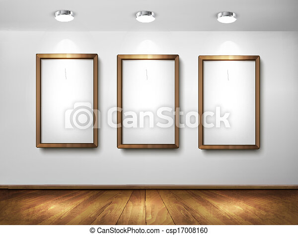 Empty wooden frames on wall with spotlights and wooden floor. Vector illustration. - csp17008160