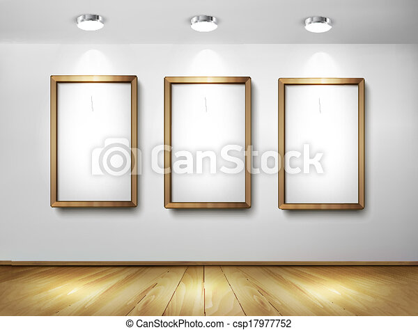 Empty wooden frames on wall with spotlights and wooden floor. Vector illustration. - csp17977752