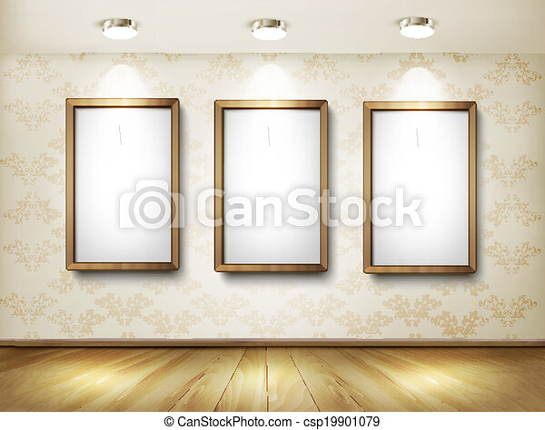 Empty wooden frames on wall with spotlights and wooden floor. Vector illustration. - csp19901079