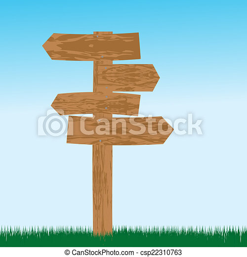 Empty wooden sign for directions - csp22310763