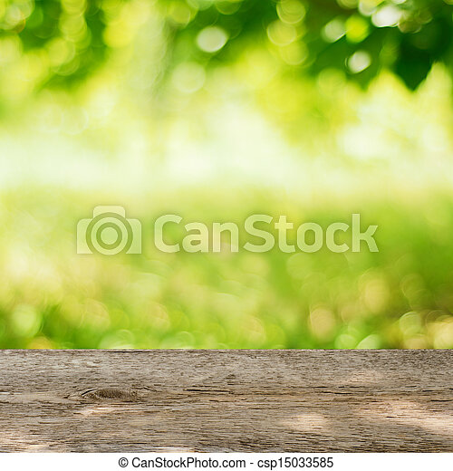 Empty Wooden Table in the Garden with Bright Green Background - csp15033585