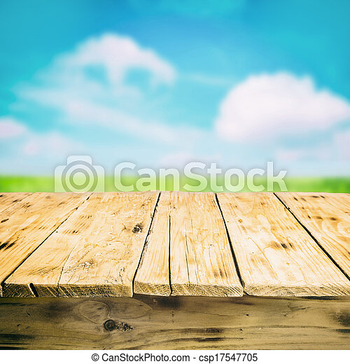 Empty wooden table outdoors, in the countryside - csp17547705