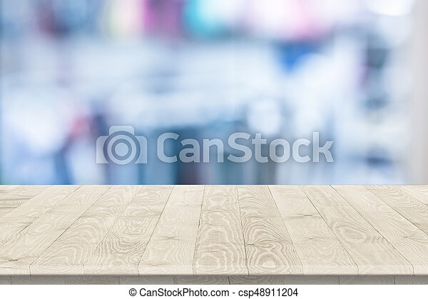 Empty wooden table perspective for product placement or stock