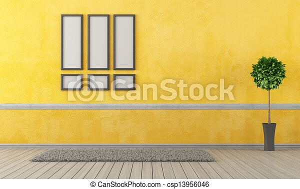 Empty yellow living room with carpet and frame rendering drawing