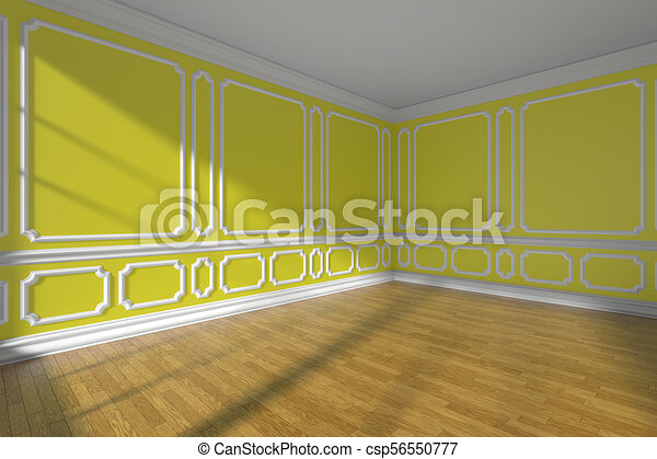 Empty yellow room with molding and parquet wide angle. Empty yellow ...