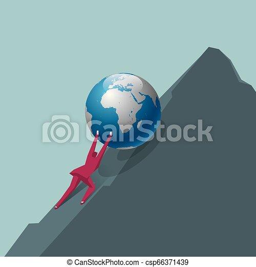 El empresario empuja la tierra. Ve a la cima de la montaña. - csp66371439