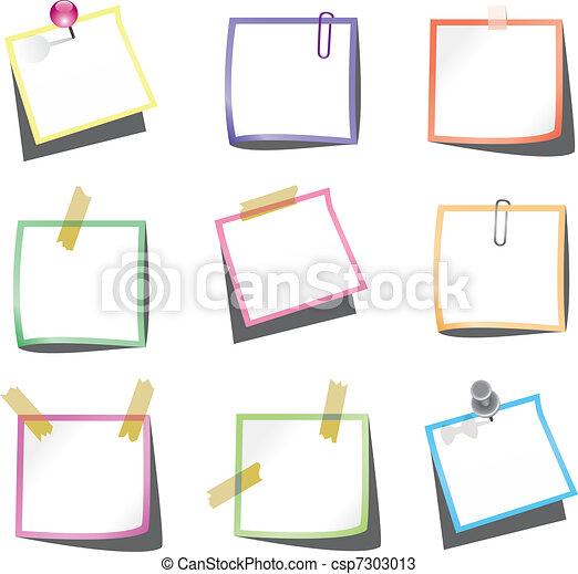empurrão, notas, papel, paperclip, alfinete - csp7303013