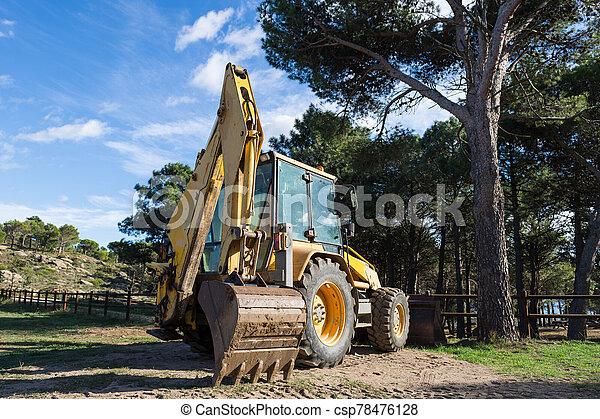 en, aire, naranja, excavadora, libre - csp78476128