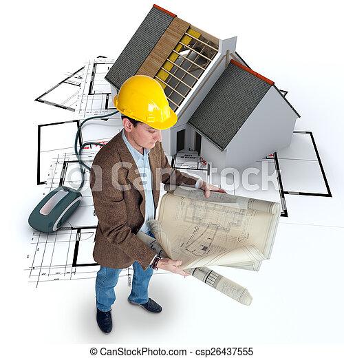 El seguimiento de construcción en línea - csp26437555