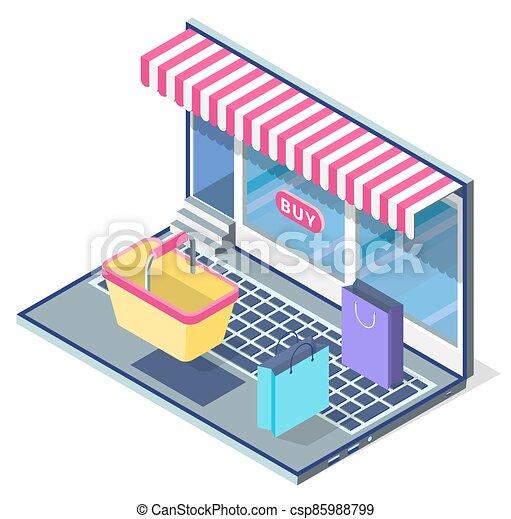 en línea, paquetes, teclado, compras, computador portatil, store., concepto, cesta, tienda, caricatura, vitrina - csp85988799