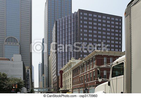en ville, ville, bâtiments, dallas, vues - csp3170960