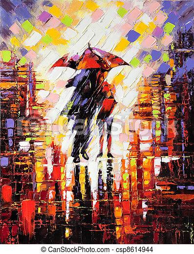enamoured, guarda-chuva, dois, sob - csp8614944