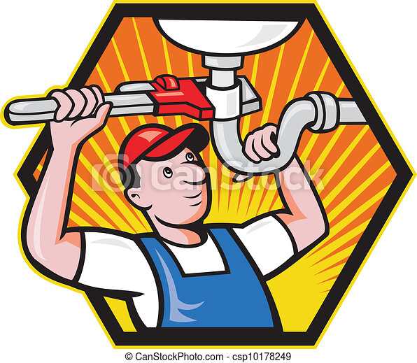 encanador, ajustável, trabalhador, chave - csp10178249
