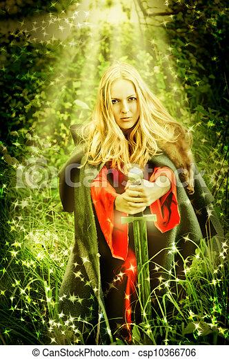 encantado, mulher, feiticeira, floresta, milagre - csp10366706