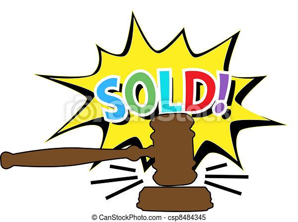 enchère, marteau, vendu, dessin animé, icône - csp8484345
