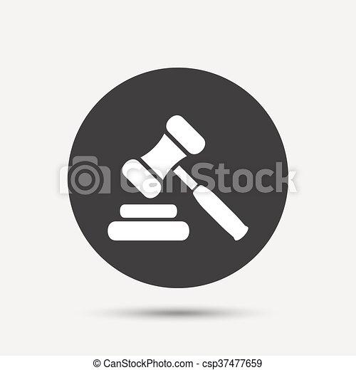 enchère, symbole., juge, marteau, icon., droit & loi, marteau - csp37477659