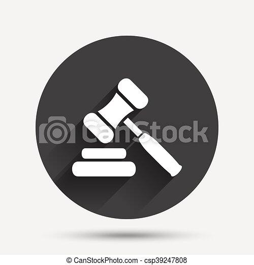 enchère, symbole., juge, marteau, icon., droit & loi, marteau - csp39247808