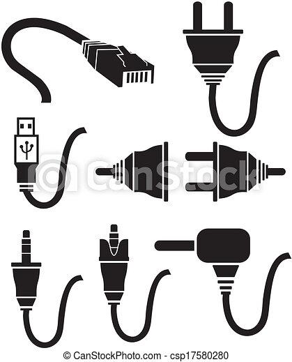 Icones de enchufe de cable - csp17580280
