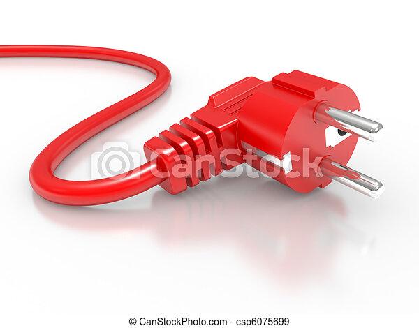 Enchufe eléctrico rojo - csp6075699