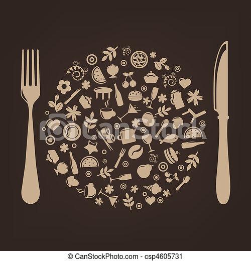 iconos de restaurante en forma de esfera con enchufe y cuchillo - csp4605731