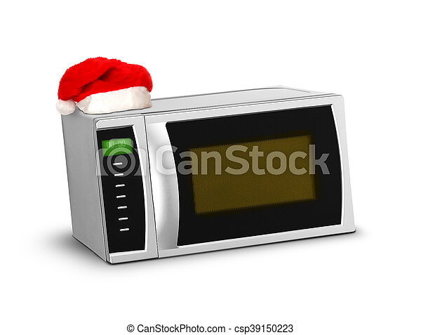 El microondas navideño sobre el blanco - csp39150223