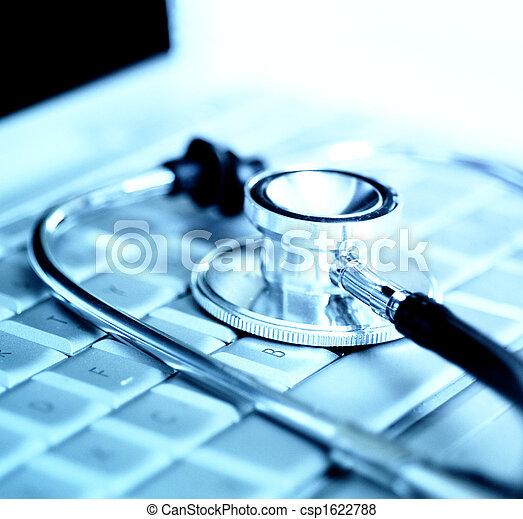 encima, estetoscopio, teclado ordenador portátil - csp1622788