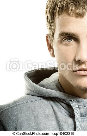 Un joven triste con antecedentes blancos - csp10403319