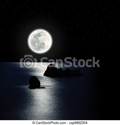 La luna se eleva sobre el océano - csp9962304