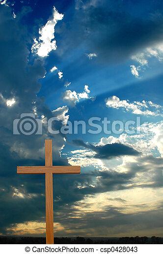 encima, ocaso, cruz, sunrays - csp0428043