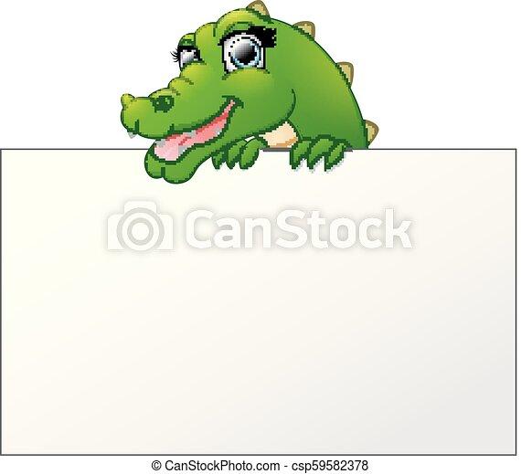 Cartoon Crocodile sosteniendo y mirando sobre un cartel en blanco - csp59582378