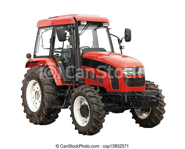 Nuevo tractor rojo aislado sobre el blanco - csp13802571