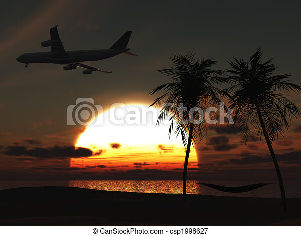 Avión volando sobre la playa tropical al atardecer. - csp1998627