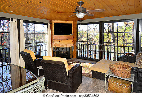 Enclosed Porch on a House - csp33534592