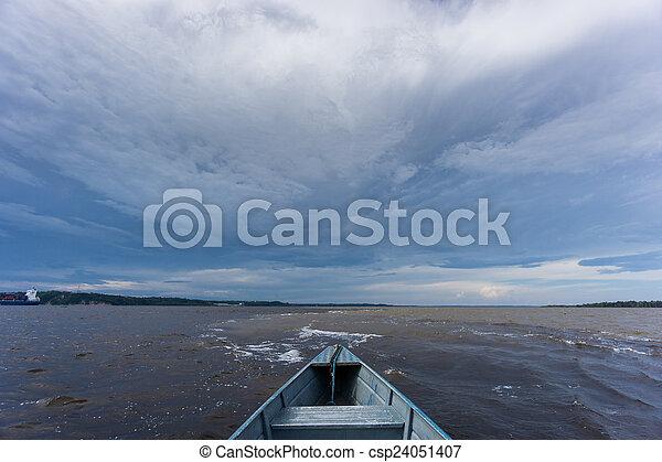 encontro, wasser, aguas), das, versammlung, aus, boot, (portuguese: - csp24051407