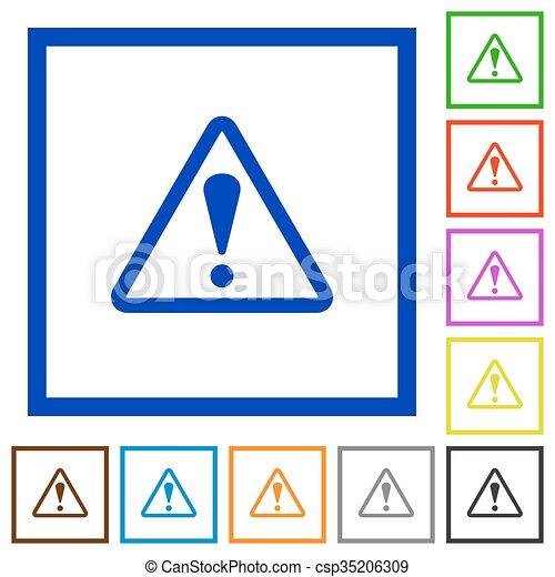 Advertencia en iconos planos - csp35206309