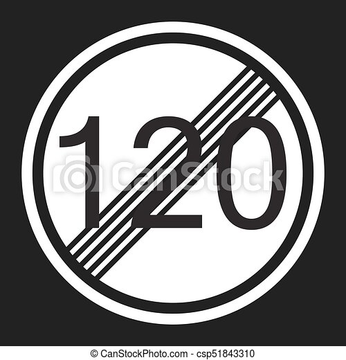 End maximum speed limit 120 sign flat icon - csp51843310